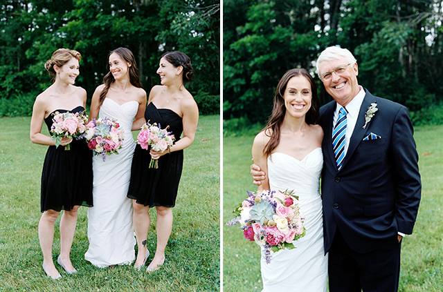 medium format film photos of wedding day formals on a green lawn, one image of the bride with her bridesmaids and another of the bride with her father.