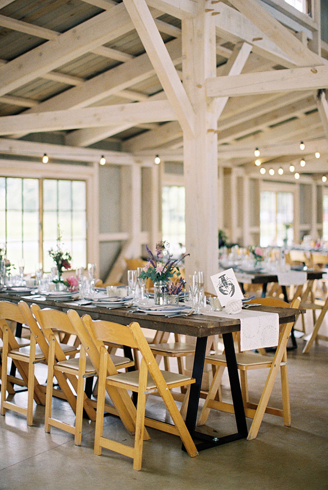 indoor barn reception decor at marianmade farm using flowers by michelle peele.