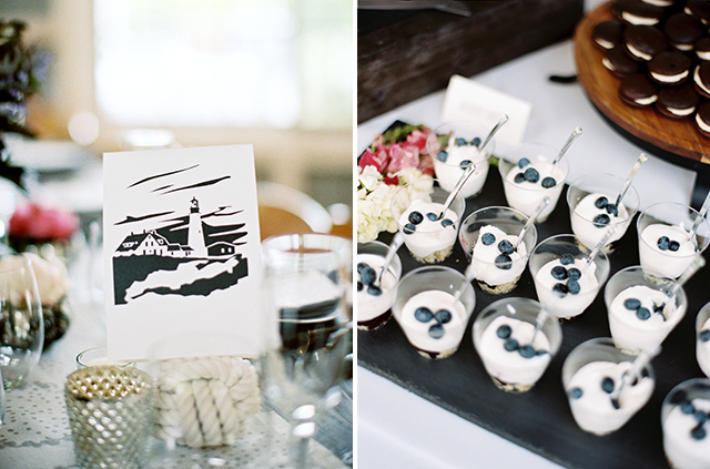 dessert table by Trillium Caterers: Maine wedding and event catering, cupcakes with blueberries on top.