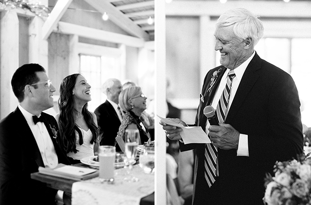 These are two black and white photos shot on film, of the bride's dad giving a toast and the couple laughing in response.