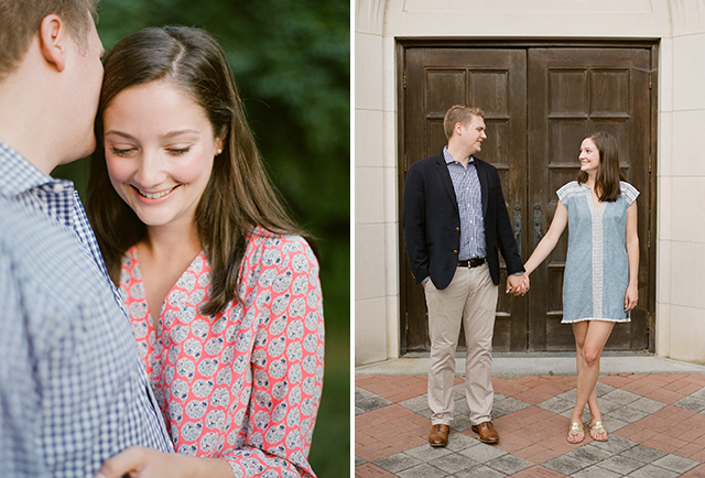 Summer engagement session on college campus