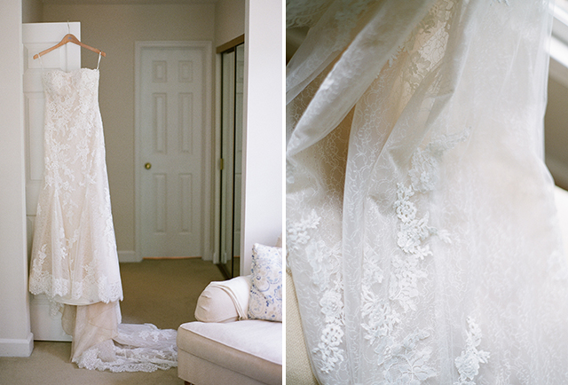 Pronovias bridal gown with lace and long train