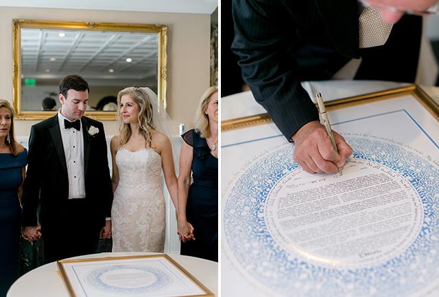 Jewish wedding ceremony signing of the ketubah