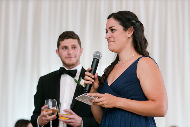 maid of honor gives a toast