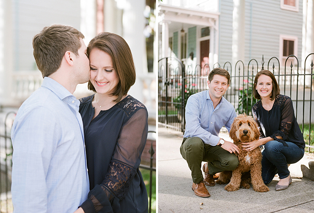 Libby Hill park engagement session with classic richmond architecture