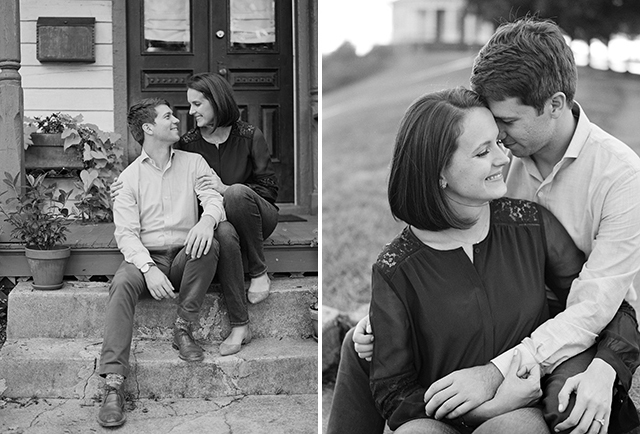 Richmond engagement photographer with two photos of black and white film