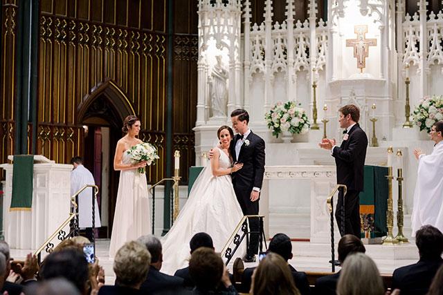 Catholic church wedding in downtown Philadelphia