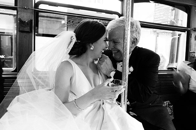 sweet image of bride with father