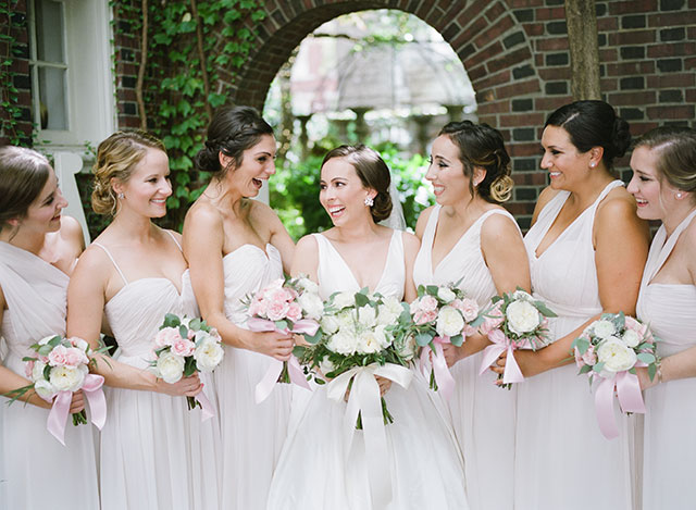 Morris House Hotel wedding portraits of bride and bridesmaids wearing Wtoo dresses in Pearl color