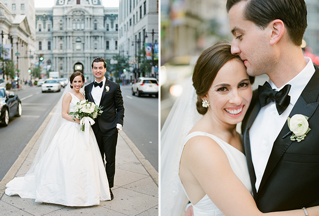 Classic Philadelphia wedding day portrait in front of the capital building - Sarah Der Photography