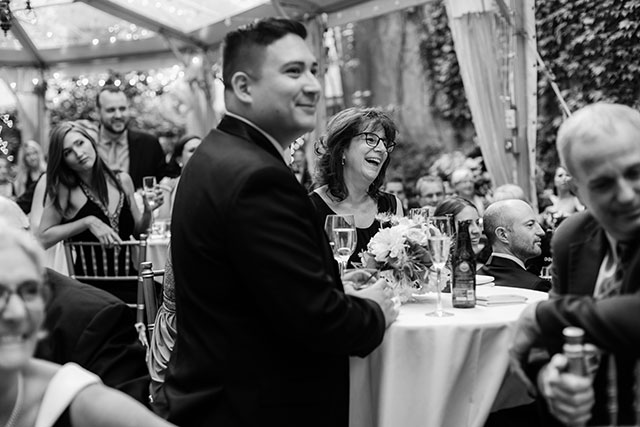 Candid shot of guests during toasts