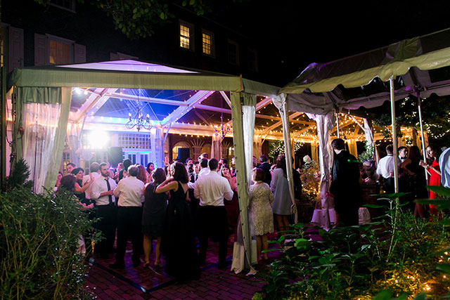 Outdoor tent reception in downtown Philly
