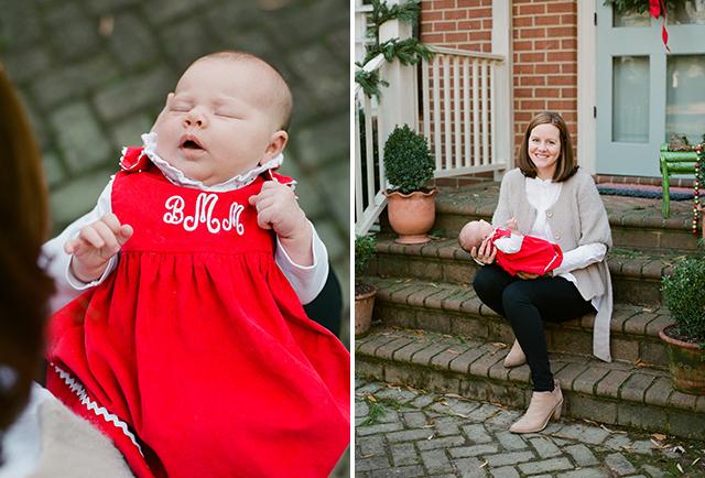 monogrammed newborn dress in holiday red