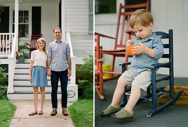 Couple in front of new house and little boy eating a snack on his wee rocking chair