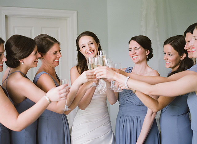 Getting ready in fearrington bridal suite with champagne - Sarah Der Photography