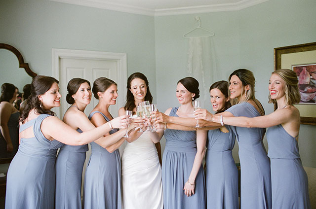 champagne toast during getting ready - Sarah Der Photography
