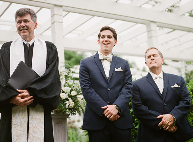 Grooms reaction to bride walking down aisle - Sarah Der Photography