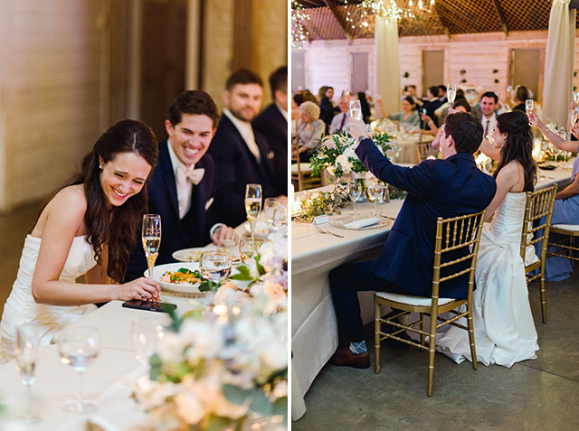 bride laughing and couple toasting - Sarah Der Photography