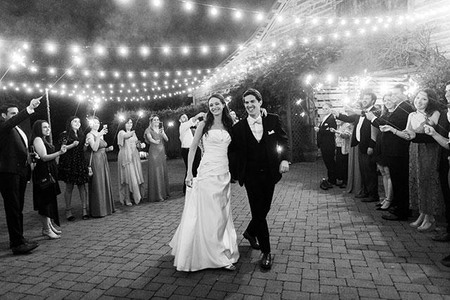 fearrington barn sparkler exit - Sarah Der Photography