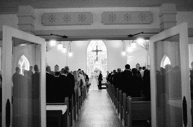 black and white film photography of St. Mary's Episcopal Church ceremony