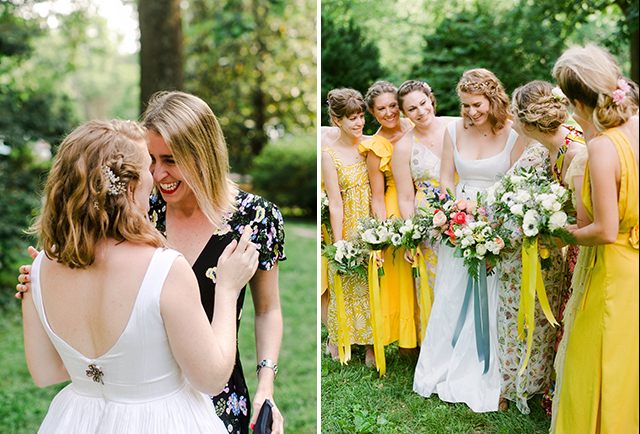 bride laughs with friends and bridesmaids wear mismatched dresses - Sarah Der Photography