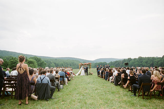 outdoor ceremony site with mountain view