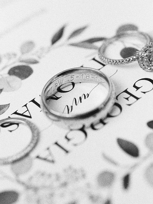 Custom engraved wedding band with wedding date, shot on black and white film