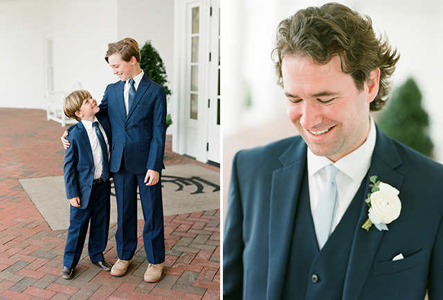groom and ring bearer portraits on wedding day by Sarah Der