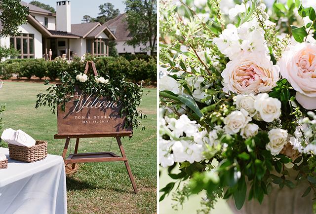 outdoor wedding venue in wilmington, nc ceremony overlooking golf course