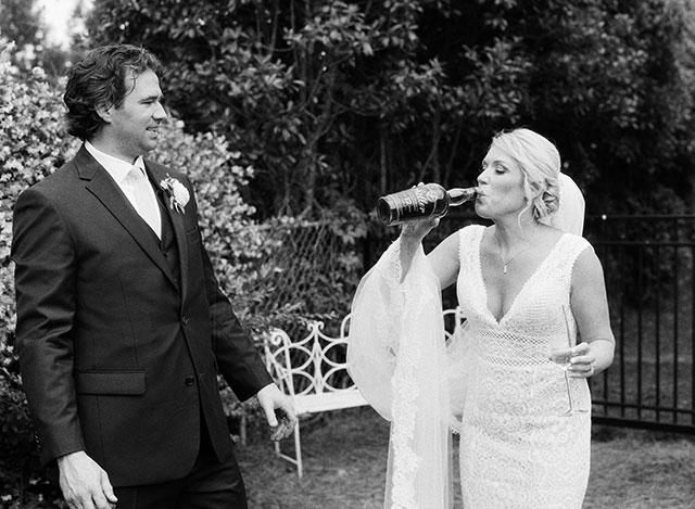 Bride sips bourbon on wedding day! by Sarah Der
