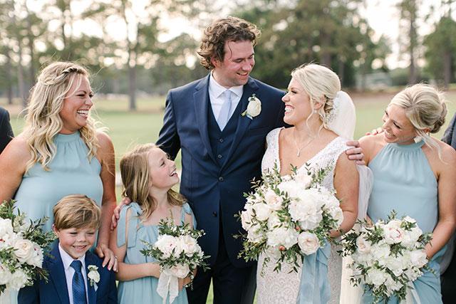 light green bridesmaids dresses  by Sarah Der