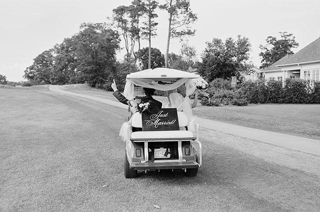 Golf cart photo shot on black and white film by Sarah Der