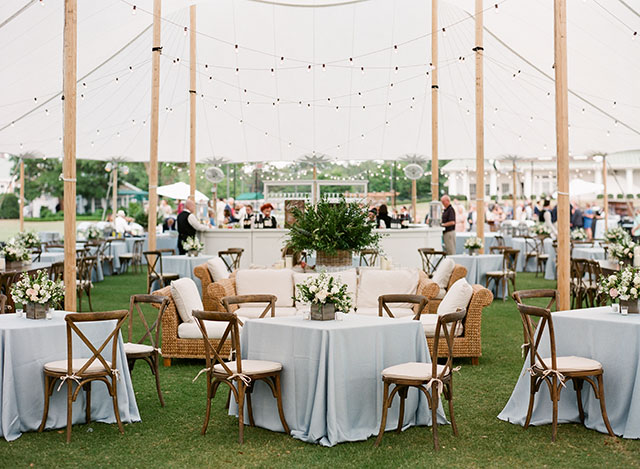 Outdoor tented reception at Cape Fear COuntry Club in Wilmington by Sarah Der