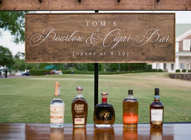 Bourbon Bar at wedding reception  by Sarah Der
