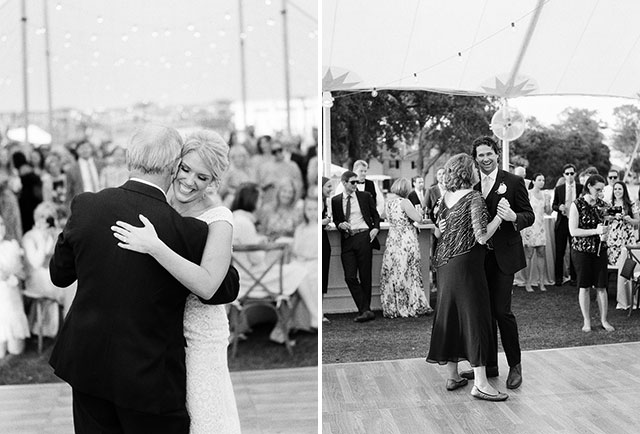 Parent dances in tent overlooking country club, outdoor venue in north carolina on the coast!