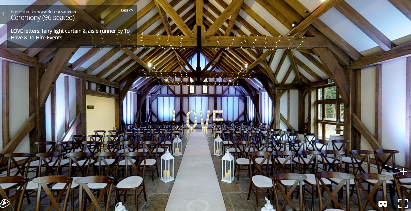 An example of one of our ceremony set ups, showing our  Cream Aisle Runner ,  Cream LED Lanterns  and  5ft LOVE Letters