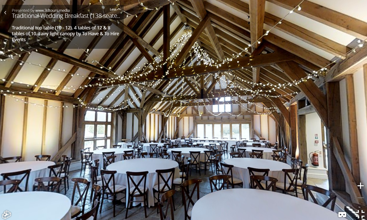Our beautiful Fairy Light Canopy and bespoke chandelier really make an impact in the high ceiling