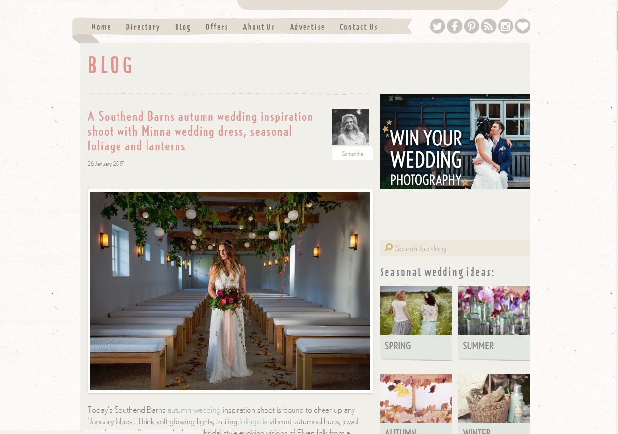 Styled shoot at Southend Barns featured on Natural Wedding Co Blog!