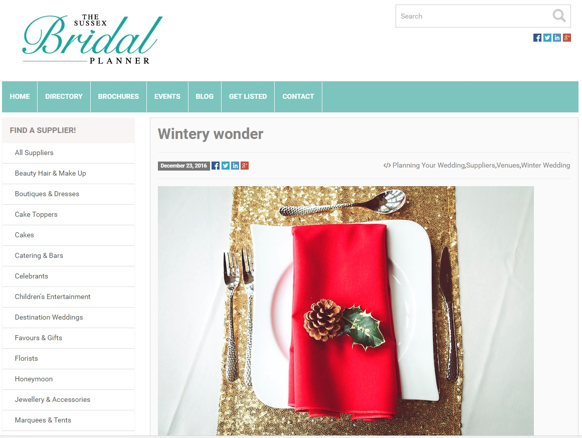 Winter themed shoot at Little Thakeham featured on The Sussex Bridal Planner
