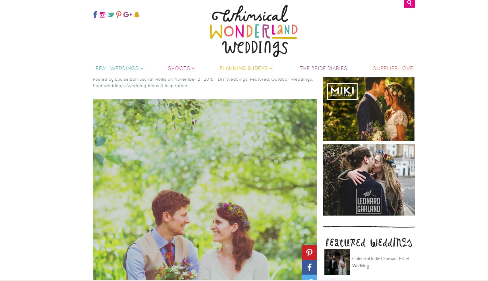 Colourful woodland wedding featured on Whimiscal Wonderland Weddings.