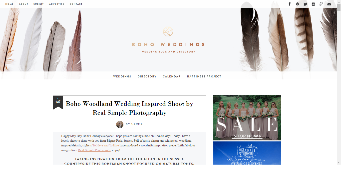 Our shoot we styled featured on Boho Weddings Blog