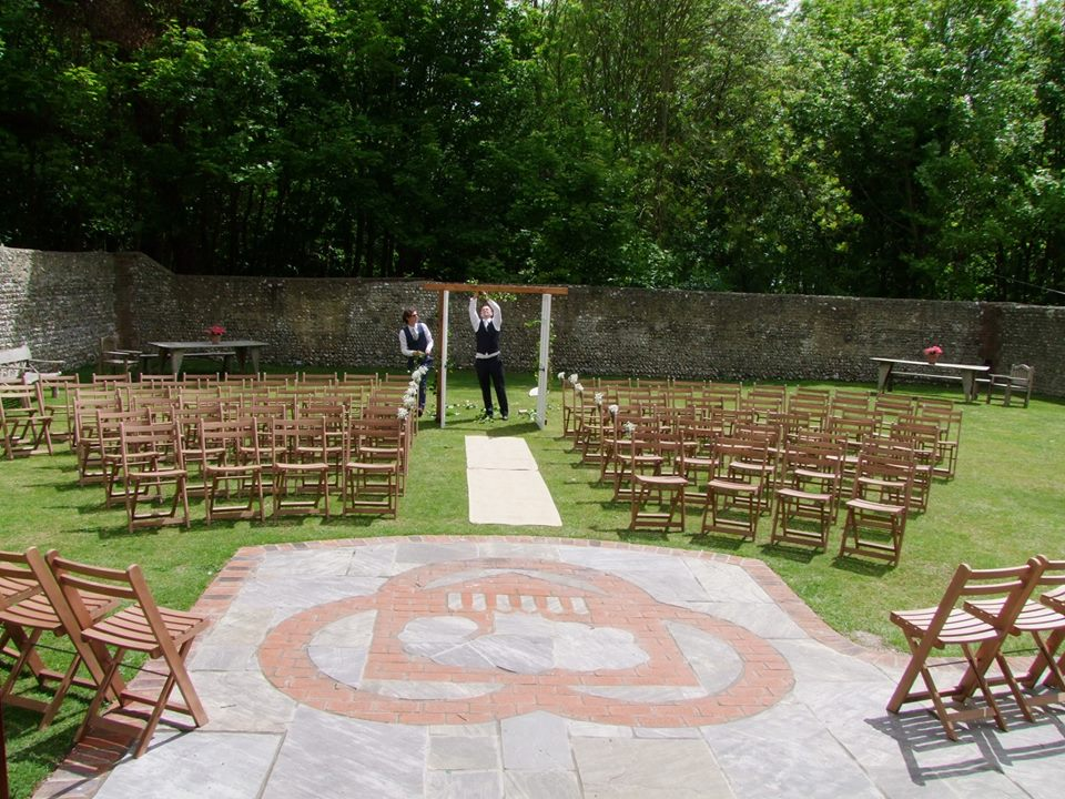 The beautiful patio outside the ceremony barn