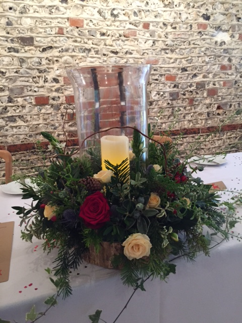 Hurricane vases supplied by To Have & To Hire, Wonderfully decorated by  Wild & Green Floristry .