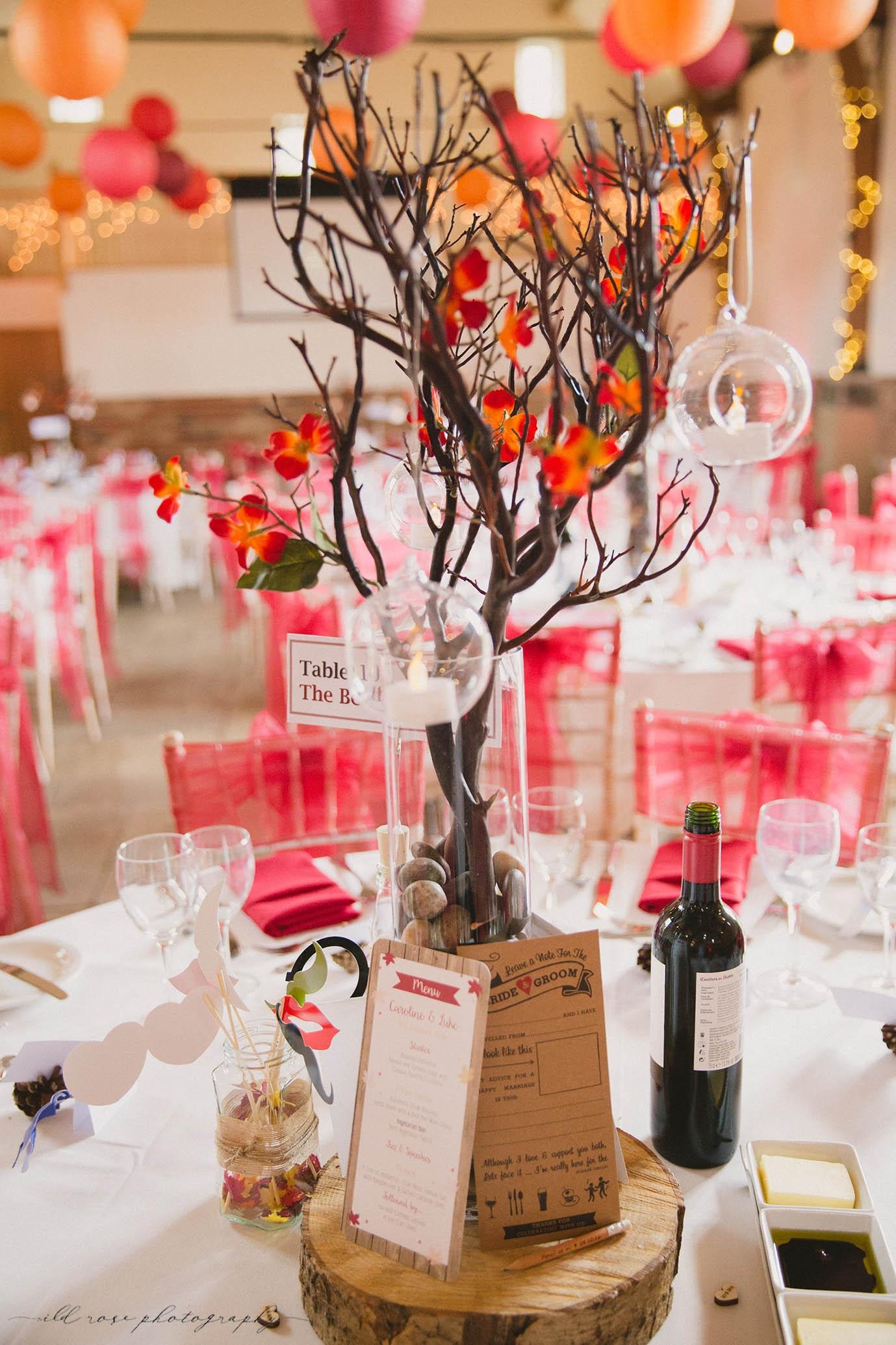 autumn tree wedding centrepiece rustic