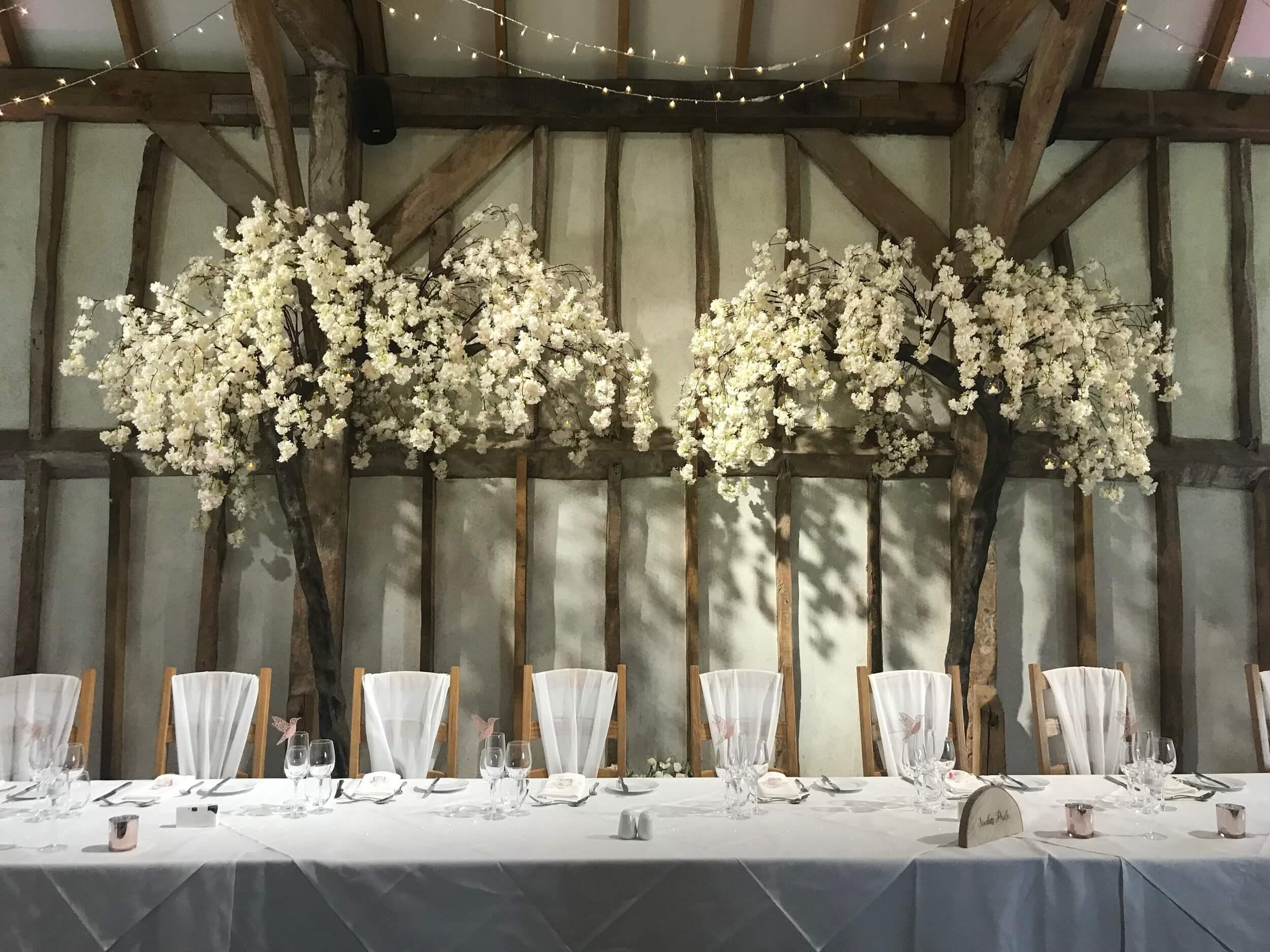 blossom wedding tree arch southend barns