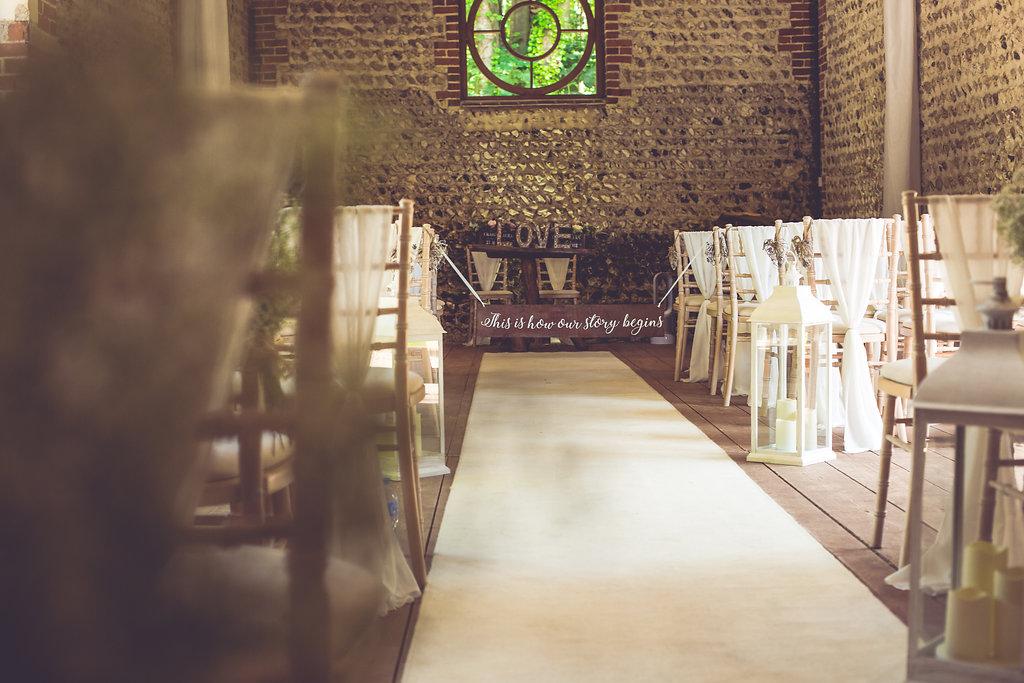 wedding aisle and decor at cissbury barns