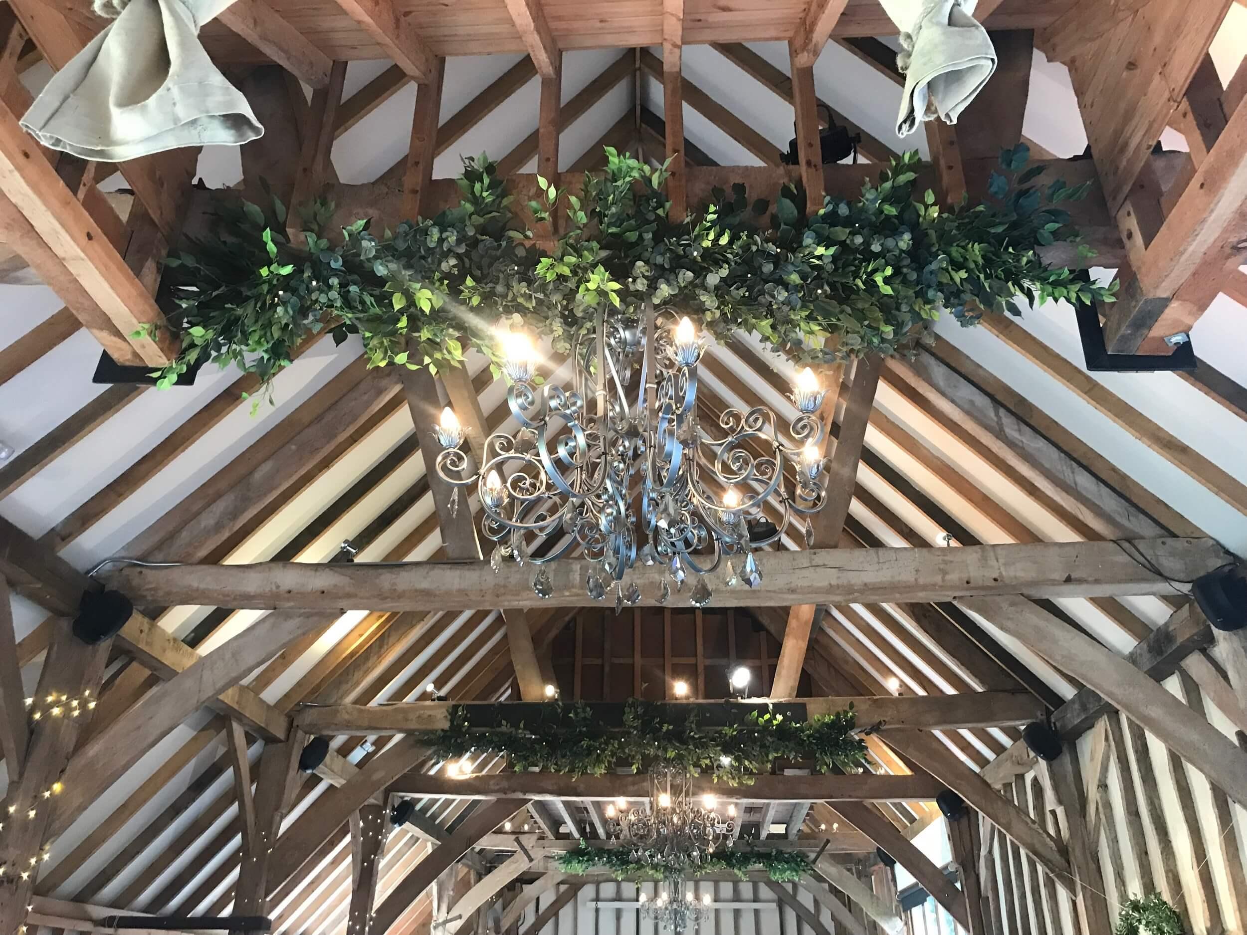 foliage on beams at southend barns