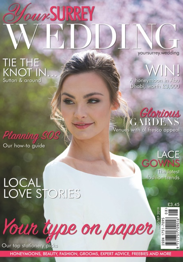 Front Cover of Your Surrey Wedding Magazine Front Cover Aug/ Sep 2019 Issue