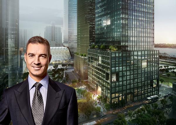 Daniel Loeb and a rendering of 55 Hudson Yards