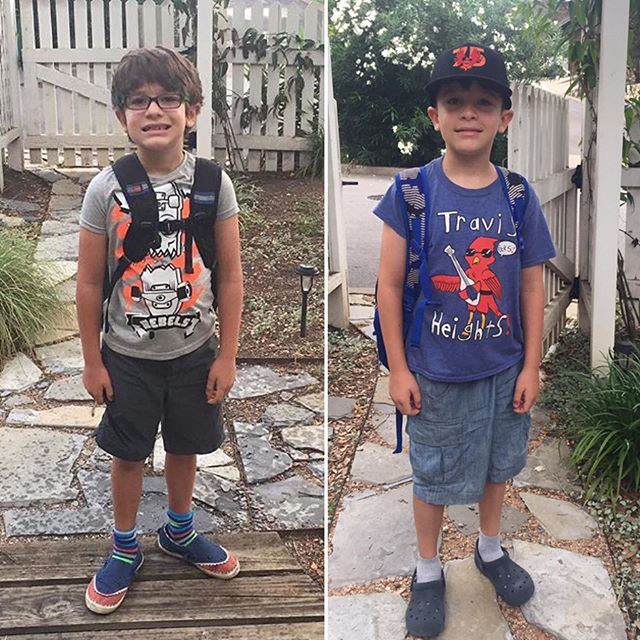 Obligatory First and last day of Second grade in Austin, next one will be in uniform in Surrey  and going into Year 4! 😢(this kiddo still rocking the crocs and socks though  WTF 🤷‍♀️🤦‍♀️)#endofschoolyear #sayinggoodbyesucks